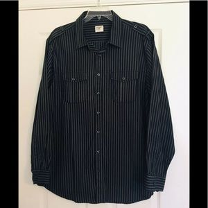 Old Navy Mens Vintage Navy Blue Striped Shirt XXL